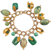 REDUCED Goldtone and Green Plastic Variety Bead Charm Bracelet