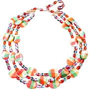 REDUCED Yummy Glass Tri-Color Bead 'Candy Pieces' Tri-Strand Necklace