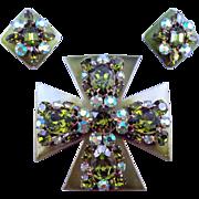 Vintage Enameled Olivine Rhinestone Encrusted Maltese Cross Pin with Matching Earrings