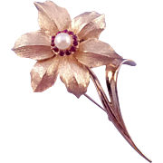 Boucher Narcissus Brooch with Genuine Cultured Pearl Center - December Flower of the Month