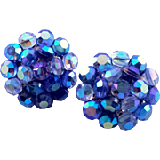Vintage Vogue Faceted Glitter Bead Clip Earrings