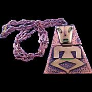Casa Maya Mexico Pre Columbian Motif Figural Pendant Necklace