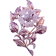 1940s Leafy Flower Brooch with Rhinestone Encrusted Blossom