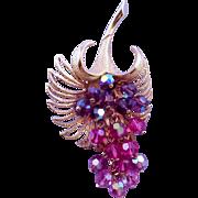 Parklane Goldtone Cascading Beads Flower Brooch or Pendant - Purple, Magenta, Pink