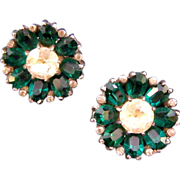 REDUCED Unsigned Mazer Sterling Flower Clip Earrings with  Unfoiled Deep Green Oval Glass ...