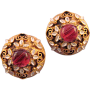 REDUCED DeNicola Goldtone and Enamel Earrings with Striated Glass Cabochons
