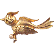 REDUCED Mamselle Goldtone Textured Bird Brooch with Faux Pearl