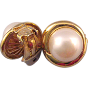 REDUCED Ciner Faux Pearl Earrings in a Goldtone Swirl Setting