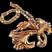 REDUCED Retro Moderne Triple Flower Goldtone Pendant Necklace