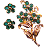 REDUCED Unfoiled Green Rhinestone Triple Flower Pin with Matching Earrings