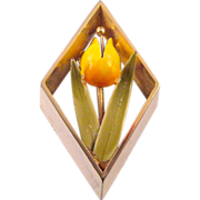 REDUCED Brightly Enameled Tulip Brooch - in a Diamond Shaped Frame