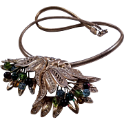 Gilded Pot Metal Flower Pendant Necklace - Glass Bead Tipped Wire Stamens