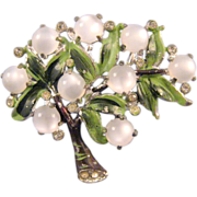 REDUCED Enameled Pot Metal Tree Pin with Moonglow White Fruit