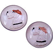 REDUCED Vintage Airedale Dog Glass Reverse Painted Earrings