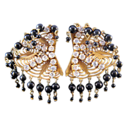 REDUCED Kitschy 'Spider Web' Goldtone Earrings with Rhinestones and Bead Fringe