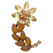 REDUCED Pale Yellow Unfoiled Rhinestone Flower Brooch