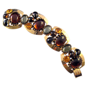 REDUCED Goldtone Cabochon Link Bracelet - Autumn Colors with Dogtooth Prongs