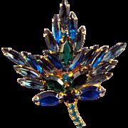 REDUCED Goldtone Blue and Green Navette Leaf Brooch
