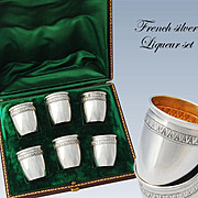 Boxed French Sterling Silver Salt Cellars & Spoons Set - Linzeler