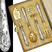 French sterling silver 4pc hors d' oeuvre serving implement set-Emile Puiforcat