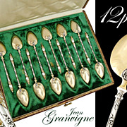 Granvigne: Boxed French Silver & Vermeil 12pc Coffee Spoons Set