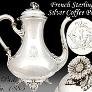 Antique French Sterling Silver Coffee Pot - Flamant & Fils - Paris, ca.1885
