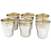 Ch. Barrier: French Sterling Silver Liquor Cups - 6pc