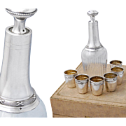 Boxed French Sterling Silver 7pc Liquor Service - Classical pattern