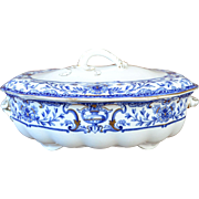 Royal Doulton Tureen Dish, Athol Pattern with Gold Trim, Late 19th Century