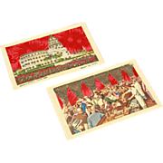 SALE Two Embossed Applique Cuban Postcards