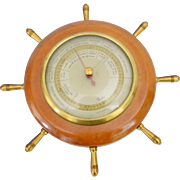 Taylor Instrument Stormoguide Barometer, Nautical Wood and Brass, 1927