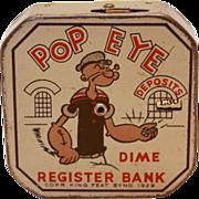 SALE Vintage Popeye Dime Register Bank, c.1930-1940s