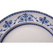 """c1910 Flow Blue China Dinner Plate """"Leighton"""" 2 Available"""