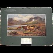 "Large 1917 Advertising Calendar ""Highland Cattle-Loch Katrine"""