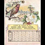 1891 Advertising Calendar from Williamsport, PA