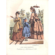 Lot of 3 Color Lithograph Fashion Plates October 1871