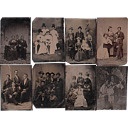 SOLD Lot of 12 Tintypes of Groups of People