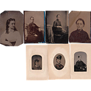 SOLD Lot of 7 Tintypes of Women
