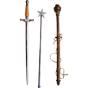 SOLD Vintage Order of Eastern Star Ceremonial Sword, Wand and Scepter