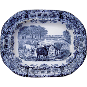 Large Antique Wedgewood Flow Blue Platter w/Cows
