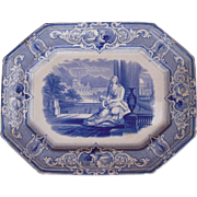Large Antique Flow Blue Platter w/Woman and Child