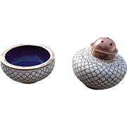 Mid 20th Century Enameled Brass Oriental Salt Shaker and Low Bowl