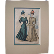 Matted 1898 Fashion Color Lithograph Plate from Delineator Magazine