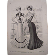 1900 Matted Full Color Fashion Lithograph Plate from Delineator Magazine