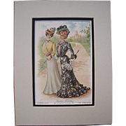 1901 Matted Full Color Fashion Lithograph Plate from The Designer Magazine
