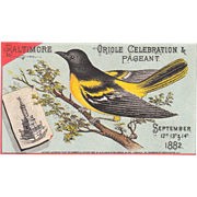 Mechanical Victorian Tradecard for 1882 Baltimore Oriole Celebration