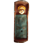 Early 1900s Miniature Toy Hand Painted Metal Baby in Cradle