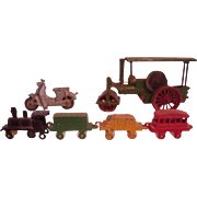 Vintage Miniature Painted Metal Toy Train, Motorcycle and Roller
