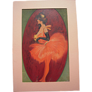 c1910 Matted Hamilton King Color Lithograph Proof of Ballerina