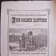 1879 Sheet Music Dem Golden Slippers